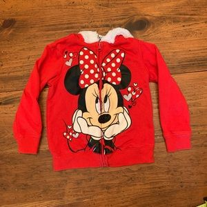 Disney Zip Up Red Minnie Mouse Hooded Sweater 3T
